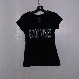 """Black """"Good Vibes"""" tee."""